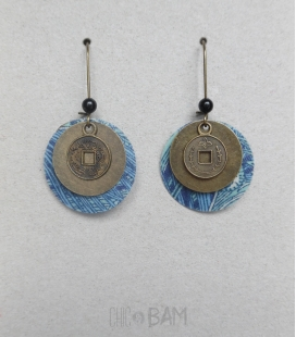 boucles LIBERTY bleu / bronze
