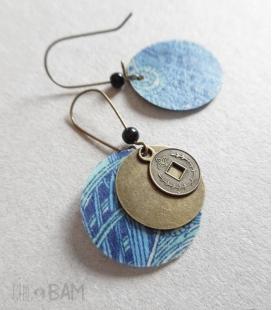 boucles LIBERTY bleu / bronze