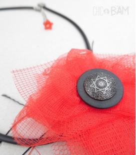 collier COQUELICOT tulle & bouton