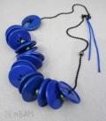 collier BOUTONS bleu électrique