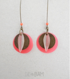 boucles PLUMES bronze / rouge