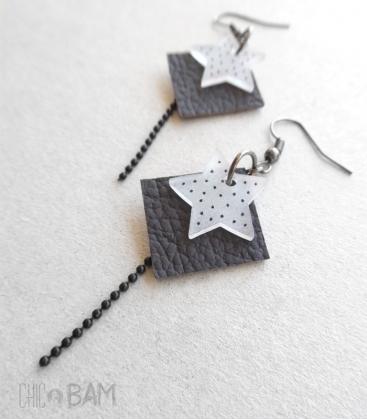 boucles CUIR gris / étoiles